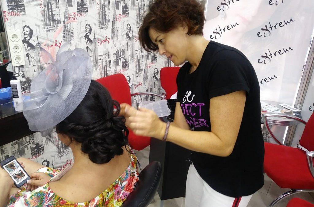 Trabajos de peluquería para boda, recogidos, tocados y maquillaje.